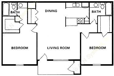 1,018 sq. ft. B-3 floor plan
