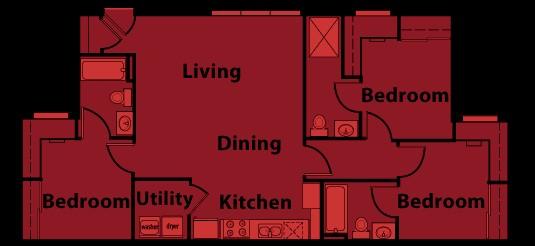 1,048 sq. ft. C1 floor plan