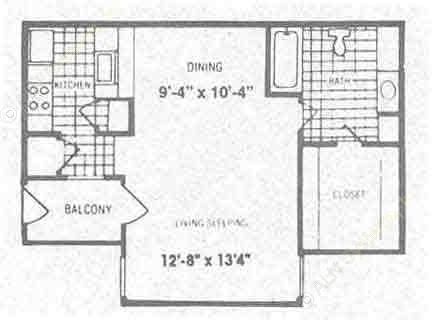 530 sq. ft. EFF floor plan