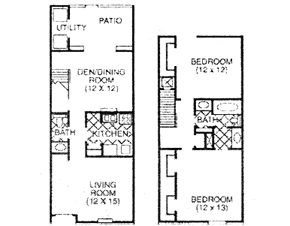1,129 sq. ft. E floor plan
