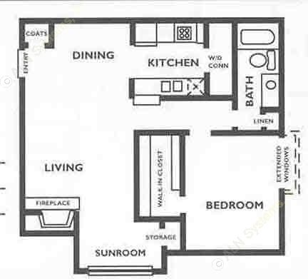 755 sq. ft. A2S floor plan