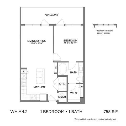 755 sq. ft. A4.2 floor plan