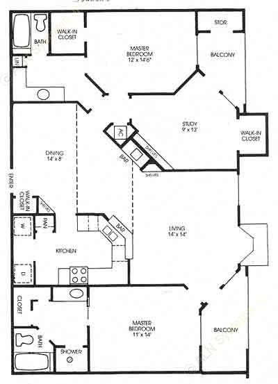 1,405 sq. ft. Cottonwood - Renovated floor plan