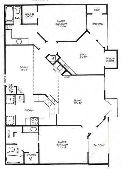 1,405 sq. ft. Cottonwood - Classic floor plan