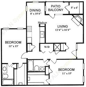 1,129 sq. ft. 2-A floor plan