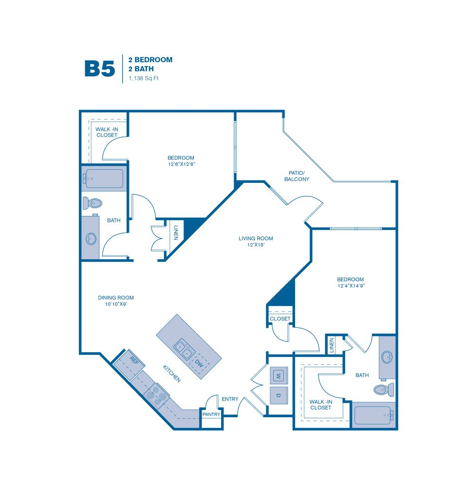 1,138 sq. ft. B5 floor plan