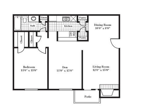 836 sq. ft. A3F floor plan