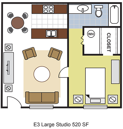 520 sq. ft. E3 floor plan
