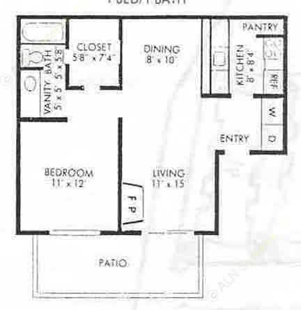 700 sq. ft. A-2 floor plan