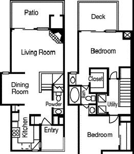 1,010 sq. ft. to 1,042 sq. ft. Vista Ridge floor plan