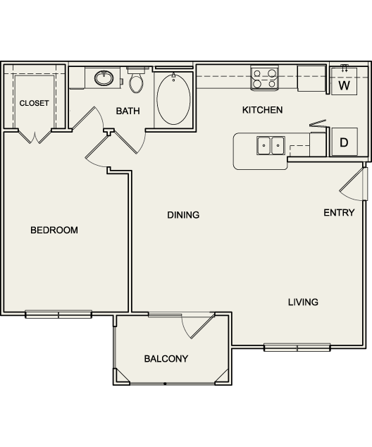 799 sq. ft. A2 floor plan
