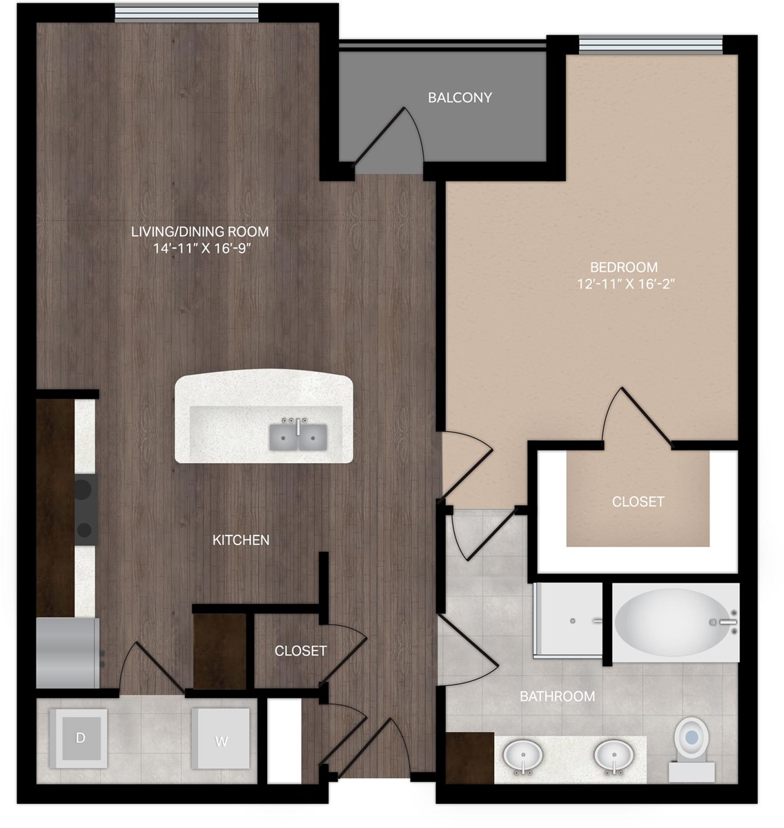 889 sq. ft. A3 floor plan