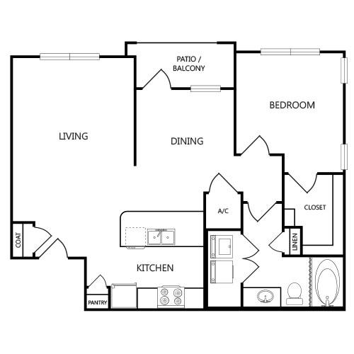 841 sq. ft. A3 floor plan