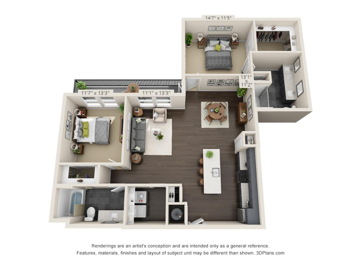 1,316 sq. ft. B4B floor plan
