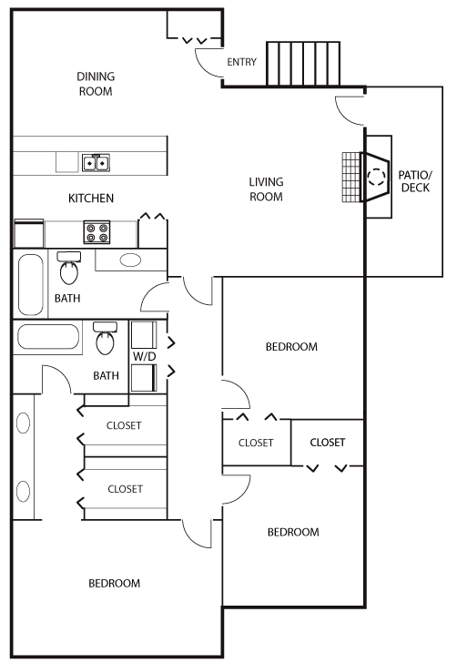 1,382 sq. ft. C1 floor plan