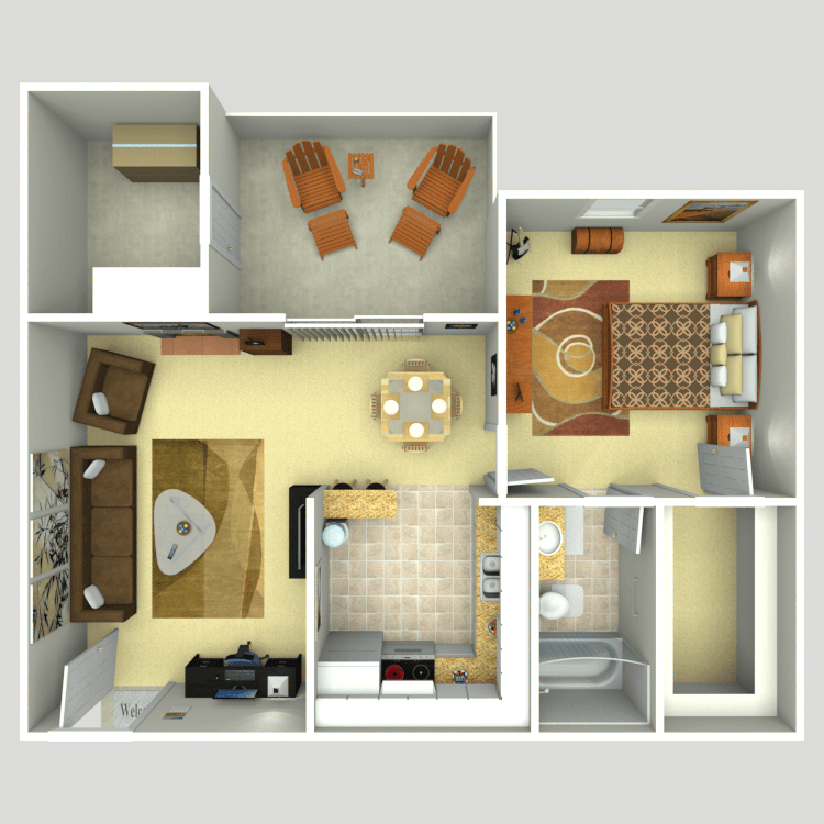 652 sq. ft. 1B floor plan