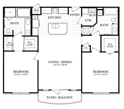 1,276 sq. ft. H floor plan