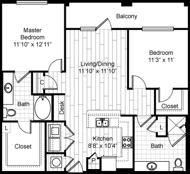 1,078 sq. ft. 22F1 floor plan