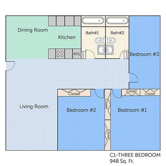 948 sq. ft. C1 floor plan