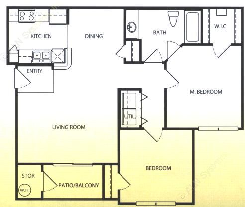 956 sq. ft. A/60% floor plan
