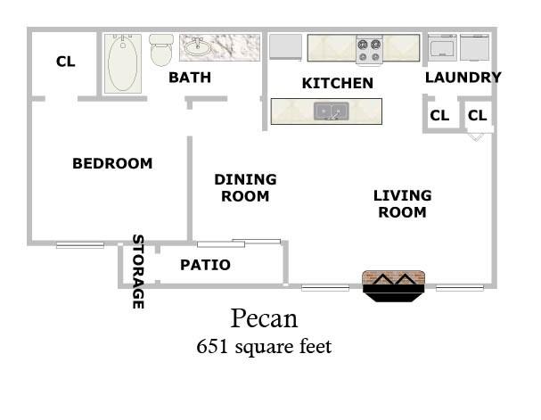651 sq. ft. Pecan floor plan