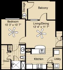 583 sq. ft. Comal floor plan