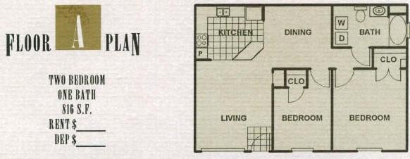 816 sq. ft. 60% floor plan