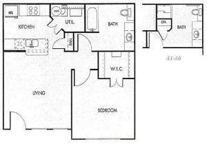650 sq. ft. 60% floor plan