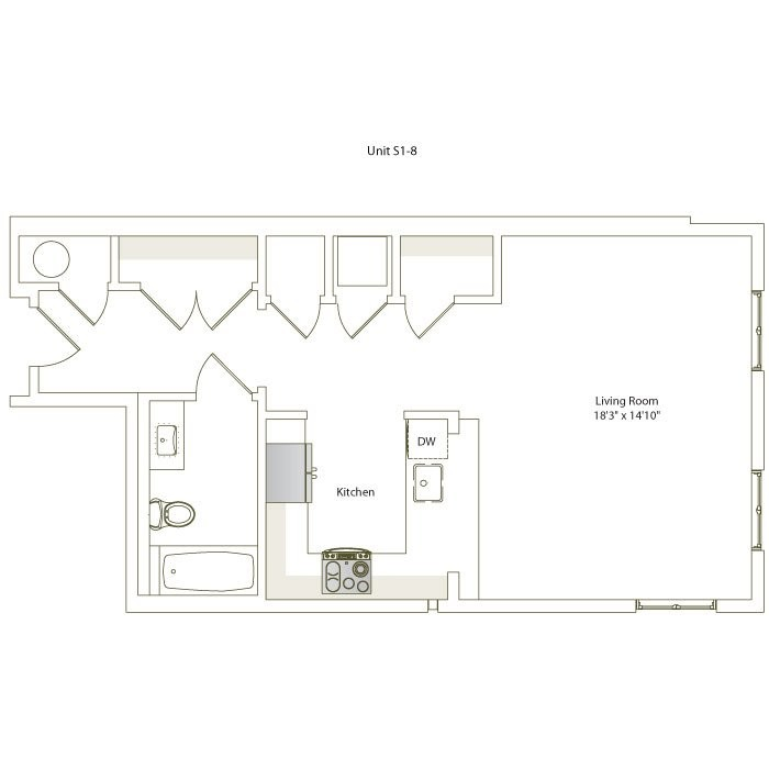 624 sq. ft. S1-8 floor plan