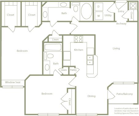 1,171 sq. ft. B floor plan