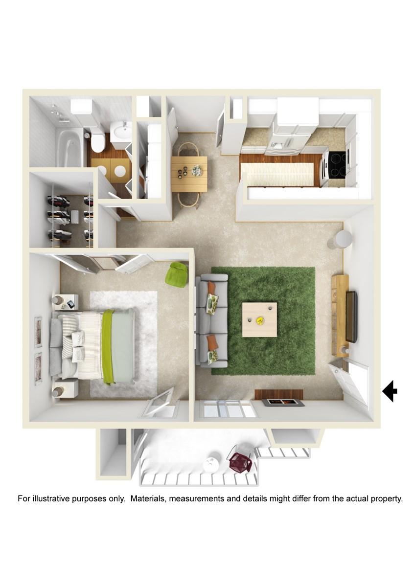 644 sq. ft. A4 floor plan