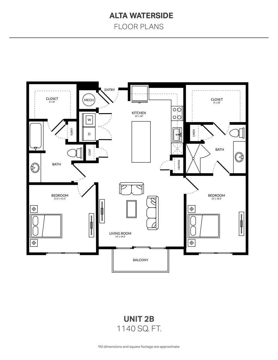 1,140 sq. ft. 2B floor plan