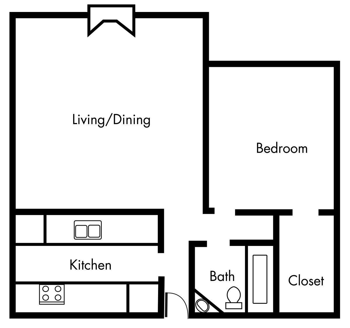 652 sq. ft. A3 floor plan