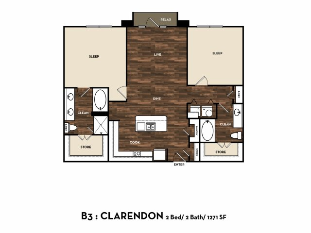 1,271 sq. ft. B3: Clarendon floor plan