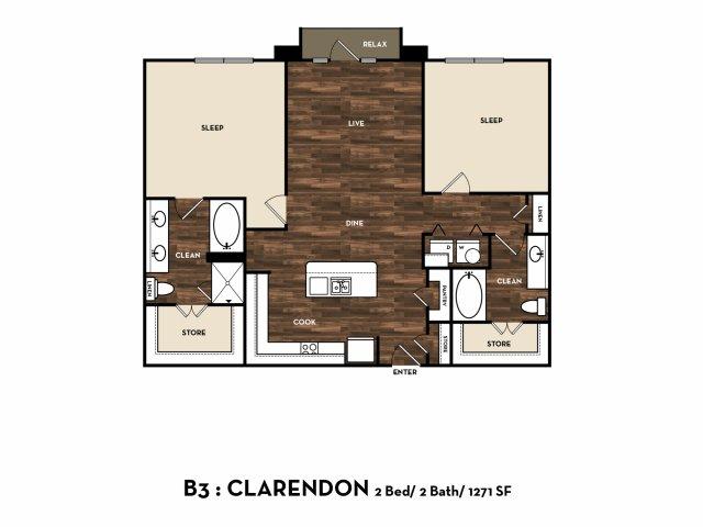 1,271 sq. ft. B3: Clarendon floor plan