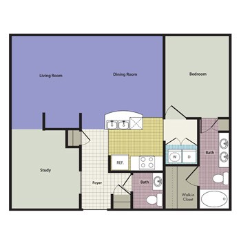 937 sq. ft. to 1,024 sq. ft. Roma floor plan