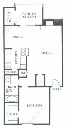 753 sq. ft. D2 floor plan