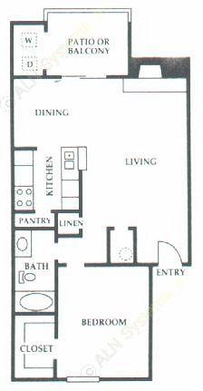 753 sq. ft. D2 floor plan