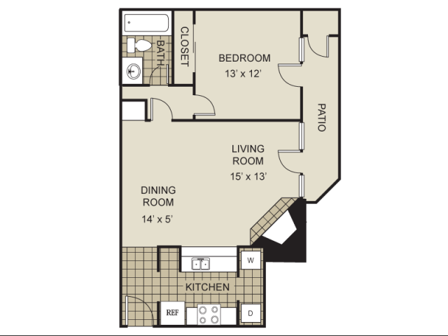 689 sq. ft. A2-B floor plan