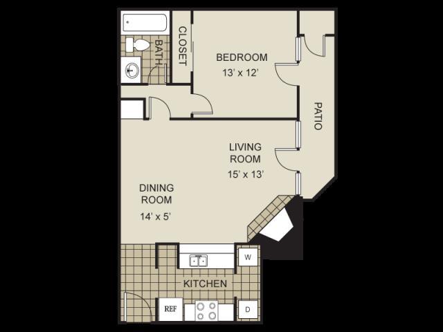 689 sq. ft. A2-B floor plan
