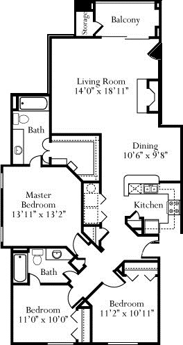 1,366 sq. ft. Jasmine floor plan