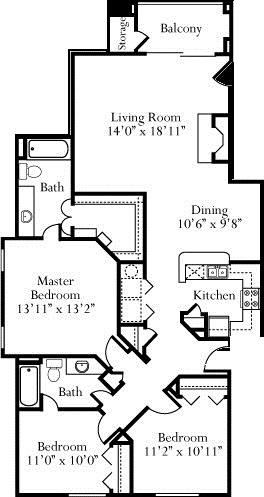 1,366 sq. ft. Jasmine floor plan