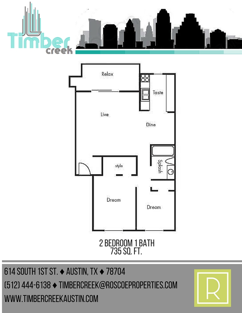 735 sq. ft. B2 floor plan
