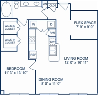 928 sq. ft. Naples floor plan