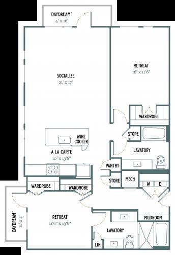 1,400 sq. ft. B4 floor plan