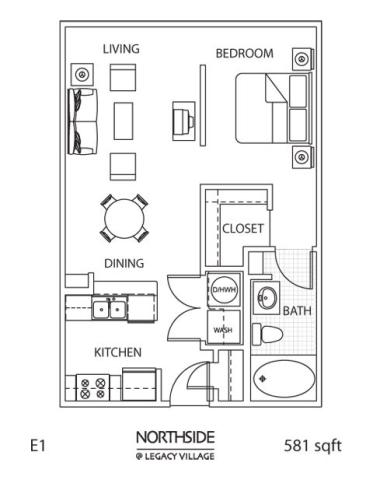 581 sq. ft. E1-1 floor plan
