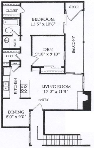 825 sq. ft. BFP-P2 floor plan