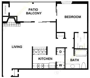737 sq. ft. A9 floor plan
