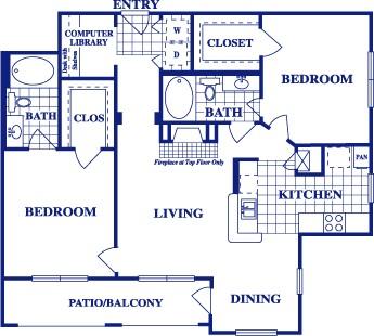 1,095 sq. ft. B1 floor plan