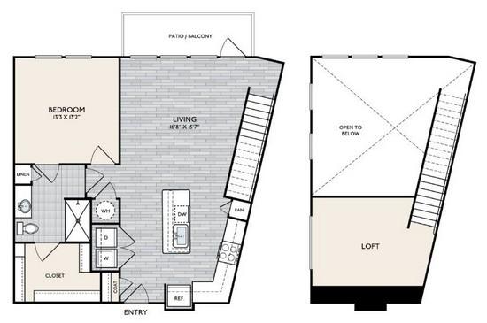 1,125 sq. ft. A8 MEZ floor plan